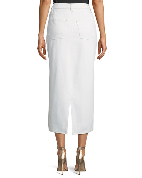 Sequin-Splatter Denim Midi Skirt