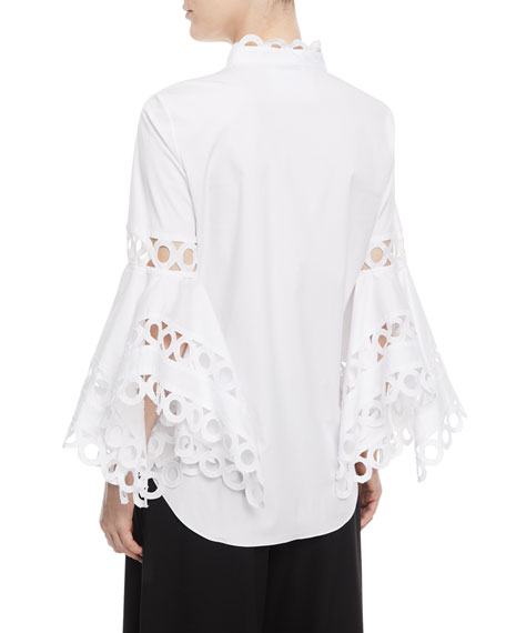 Scallop-Trim Bell-Sleeve Blouse