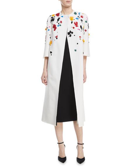 Splatter-Beaded Long Wool Coat