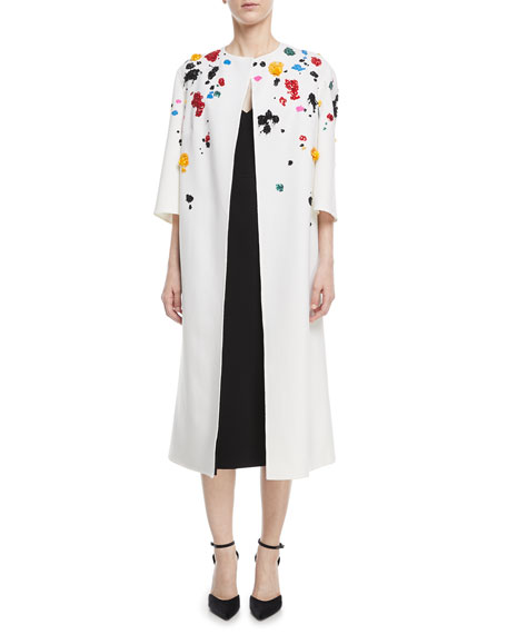 Splatter-Beaded Long Wool Coat