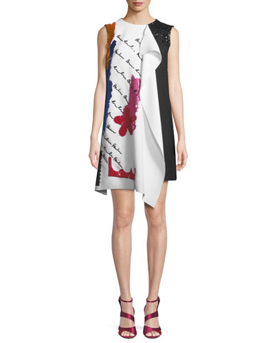 Draped Embroidered Wool Cocktail Dress