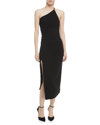 One-Shoulder Slim-Fit Wool Dress
