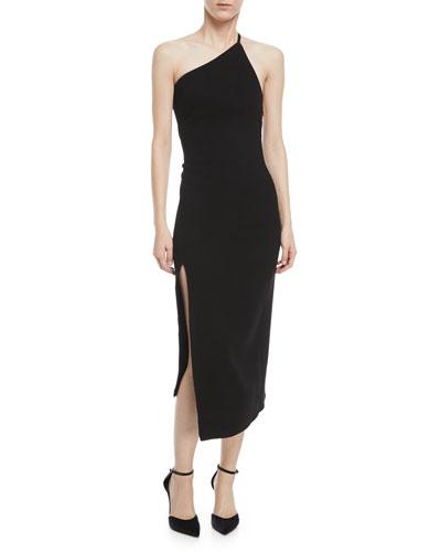 One-Shoulder Slim-Fit Wool Dress