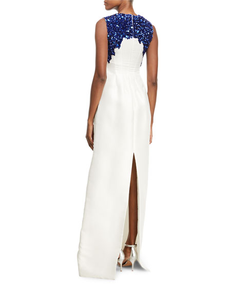 Sleeveless Sequin-Embroidered Faille Gown