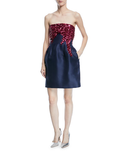 Strapless Fit-and-Flare Silk Faille Cocktail Dress with Sequins