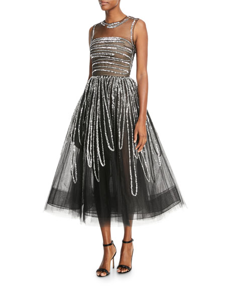 Sequin-Striped Tulle Cocktail Dress