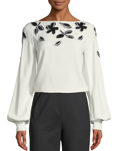 Beaded Crepe Bishop-Sleeve Blouse
