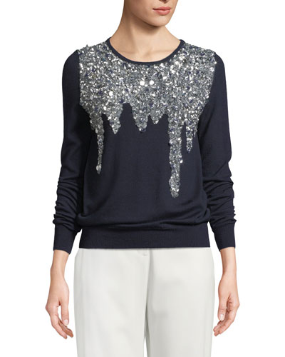 Sequin-Embellished Crewneck Top