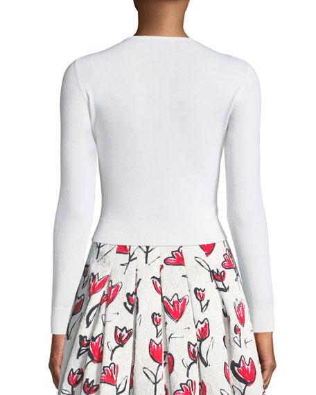 Tulip-Embroidered Wool Cardigan