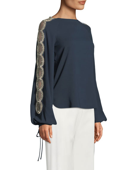 Beaded Bishop-Sleeve Blouse