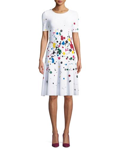 Short-Sleeve Splatter Paint Dress