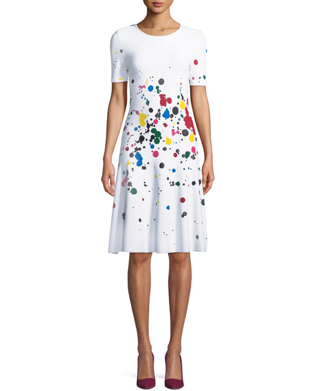 Short-Sleeve Splatter Paint Dress