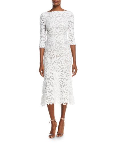 3/4-Sleeve Lace Midi Dress