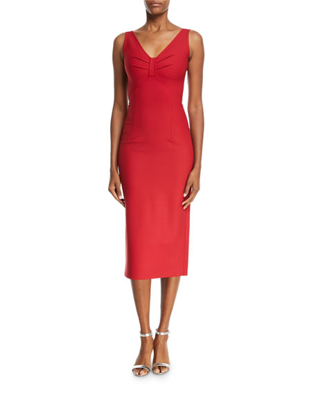 Sleeveless Stretch-Wool Midi Dress