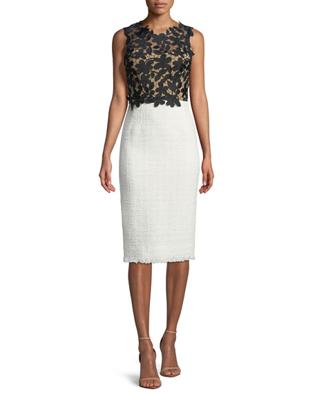 Lace/Tweed Combination Sheath Dress