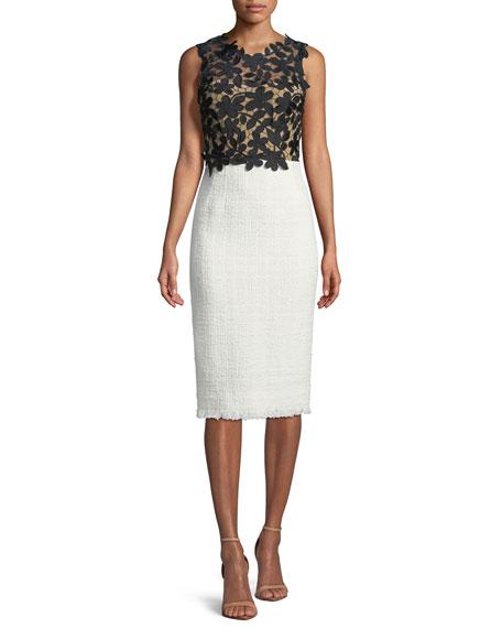 Lace/Tweed Combination Sheath Dress