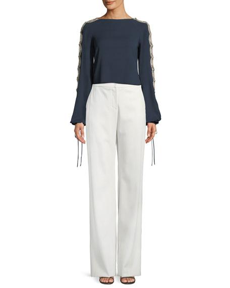 Wide-Leg Stretch-Wool Pants