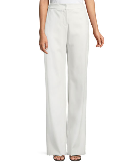 Wide-Leg Stretch-Wool Pants