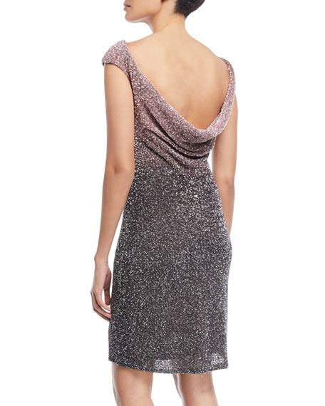 Ombre Beaded Cowl-Back Cocktail Dress