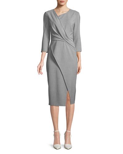 Asymmetric-Neck Bracelet-Sleeve Wrap-Style Dress