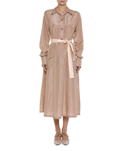 Long-Sleeve Washed Silk Shirtdress