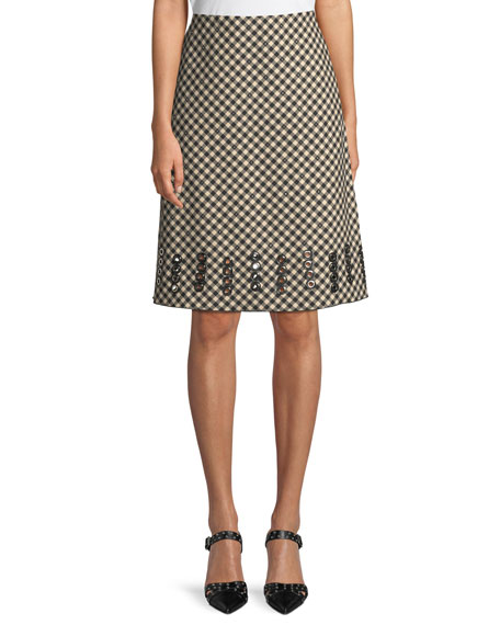 Checked A-Line Skirt with Grommet Embroidery