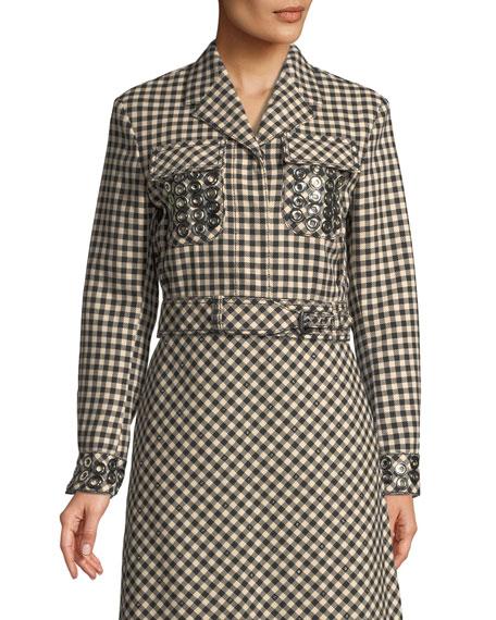 Crop Check Wool-Blend Jacket with Grommet Trim
