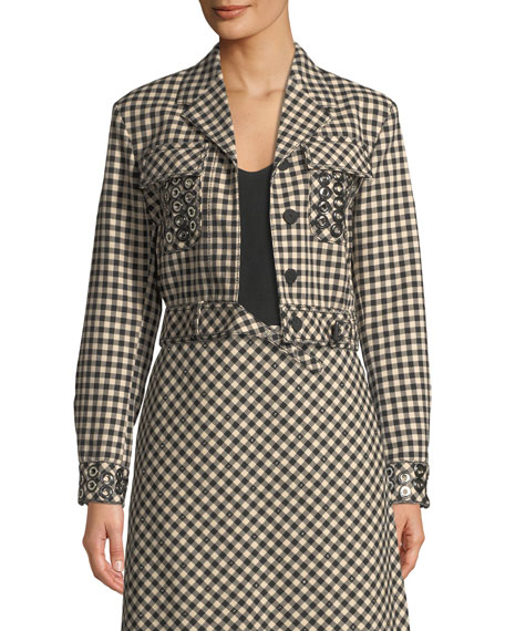 Crop Check Wool-Blend Jacket with Grommet Trim