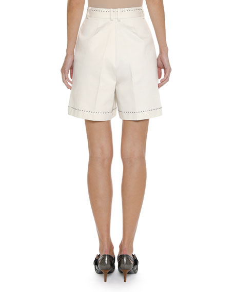 High-Waist Studded Canvas Shorts