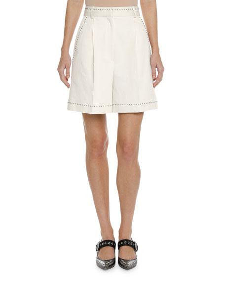 High-Waist Studded Canvas Shorts