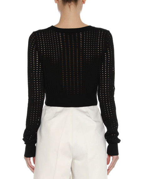 Cropped Open-Weave Sweater