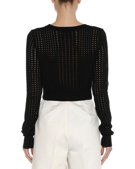 Cropped Open-Weave Sweater