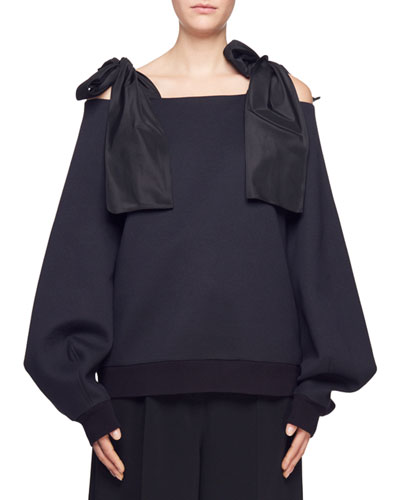Tie-Shoulder Puff-Sleeve Top