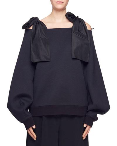 Tie-Shoulder Puff-Sleeve Top