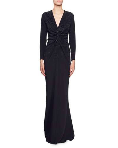 Joy Long-Sleeve V-Neck Gown