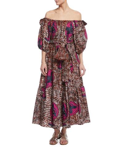 Fan-Print Off-the-Shoulder Cotton Maxi Dress