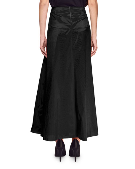 Ruched Satin Maxi Skirt