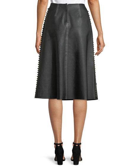 Studded A-Line Midi Leather Skirt