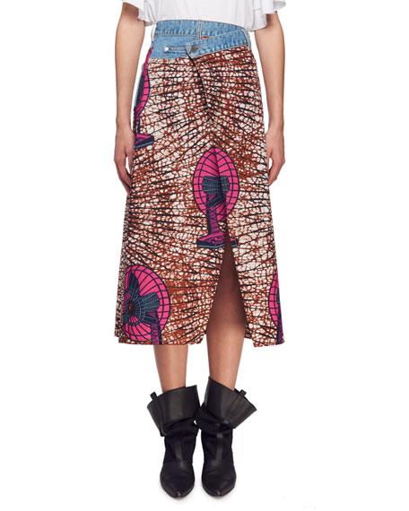 Avery Dutch Fan-Print Asymmetric Midi Skirt