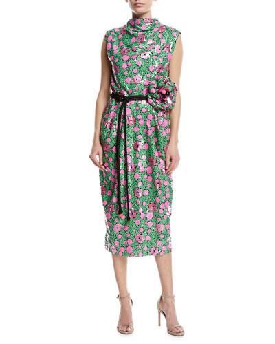 Sequined Floral Tie-Waist Cocktail Dress
