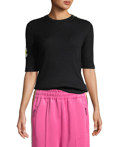 Crewneck Daisy Elbow-Sleeve Wool Knit Sweater
