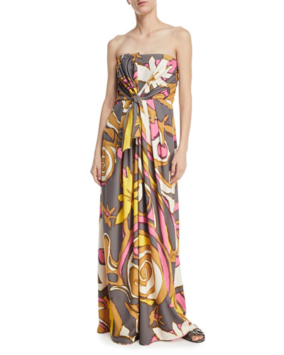 Strapless Twist-Front Jersey Gown