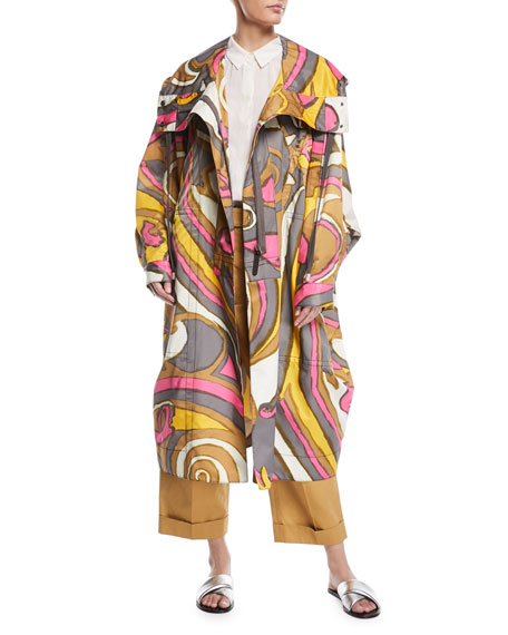 Swirl-Print Hooded Oversized Techno Coat