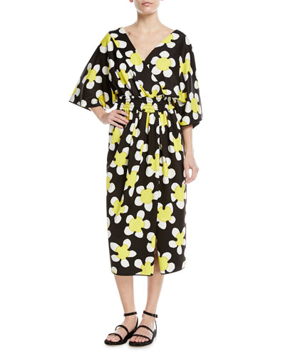 3/4-Sleeve Wrap-Front Daisy Dress