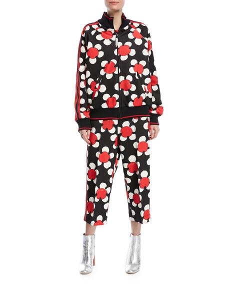 Daisy-Print Wide-Leg Zip-Cuff Track Pants