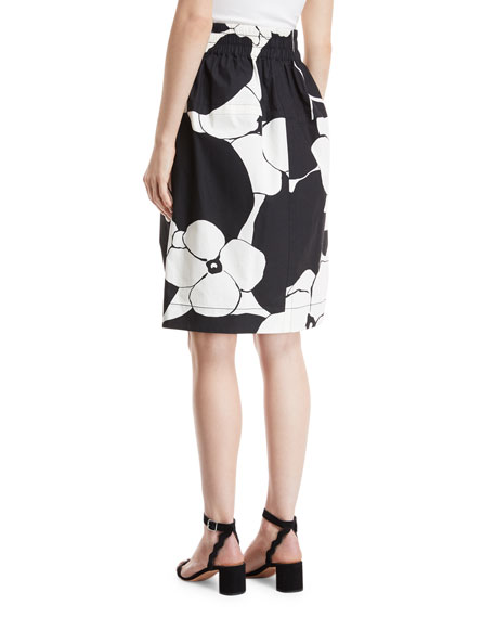 Daisy-Print A-Line Cotton Poplin Skirt