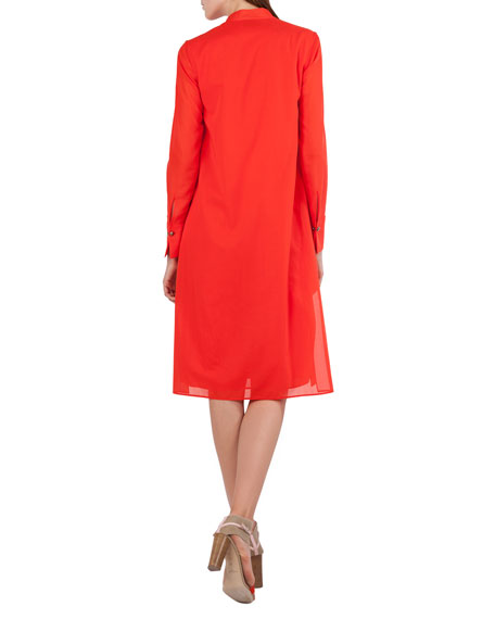 Polo-Style Long-Sleeve Cotton Voile Tunic Dress