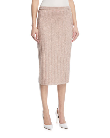 Lurex® Striped Knit Pencil Skirt