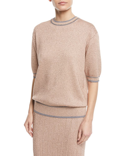 Short-Sleeve Crewneck Metallic Knit Top