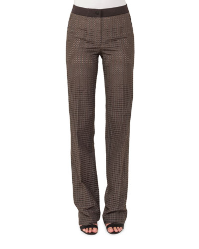 Straight-Leg Ajouré Silk-Cotton Pants